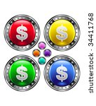 Dollar sign icon on round colorful vector buttons suitable for use on websites, in print materials or in advertisements.  Set includes red, yellow, green, and blue versions. - stock vector