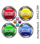 discount icon on round colorful ... | Shutterstock .eps vector #34411789