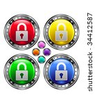 Secure Lock Icon On Round...