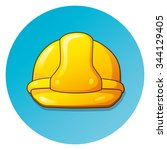 yellow safety helmet on a blue... | Shutterstock .eps vector #344129405