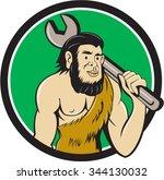 illustration of a neanderthal... | Shutterstock .eps vector #344130032