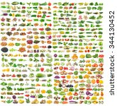 set of grains and vegetable on... | Shutterstock . vector #344130452