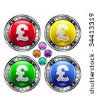 British pound currency icon on round colorful vector buttons suitable for use on websites, in print materials or in advertisements.  Set includes red, yellow, green, and blue versions. - stock vector