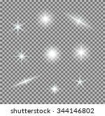 vector set of glowing light... | Shutterstock .eps vector #344146802