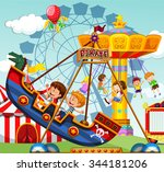 children riding on rides at the ... | Shutterstock .eps vector #344181206