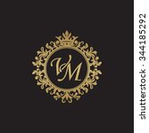 vm initial luxury ornament... | Shutterstock .eps vector #344185292