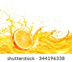 orange juice splashing with its ... | Shutterstock . vector #344196338