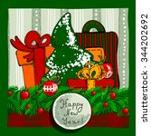 design a christmas card with... | Shutterstock .eps vector #344202692