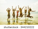 silhouette of young group of... | Shutterstock . vector #344210222