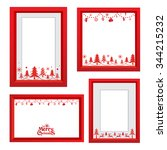 set of christmas frames vector... | Shutterstock .eps vector #344215232