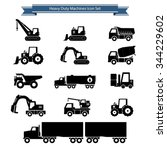 heavy duty machines icons set | Shutterstock .eps vector #344229602