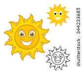 sun cartoon character include... | Shutterstock .eps vector #344233685