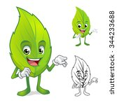leaf mascot with present hand... | Shutterstock .eps vector #344233688