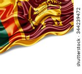 Sri Lanka  Flag Of Silk With...