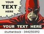red superhero. speech bubble.... | Shutterstock .eps vector #344250392