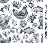 Vintage food background. Different kinds of food. Vector illustration   Shutterstock vector #344252666