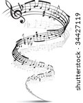 music notes twisted into a... | Shutterstock .eps vector #34427119