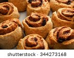 cinnamon rolls closeup in... | Shutterstock . vector #344273168
