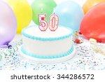 cake celebrating 50th birthday | Shutterstock . vector #344286572