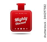 mighty discount red vector icon ...