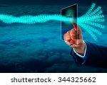 hand of a manager unlocking a... | Shutterstock . vector #344325662