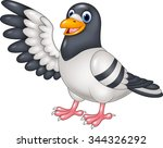 Cartoon Funny Pigeon Bird...
