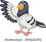 Cartoon Funny Pigeon Bird...