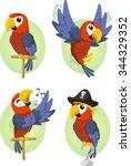 cartoon parrot set | Shutterstock .eps vector #344329352