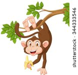 cartoon happy monkey hanging...