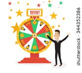 wheel of fortune with man | Shutterstock .eps vector #344352386