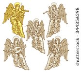 angels with musical instruments ...   Shutterstock .eps vector #344356298