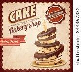 cake happy birthday | Shutterstock .eps vector #344367332