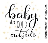 winter romantic lettering.... | Shutterstock .eps vector #344389025