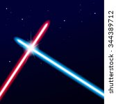 two crossed light swords on... | Shutterstock .eps vector #344389712