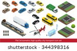 isometric big set cars. car... | Shutterstock .eps vector #344398316