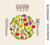 vegetarian food design  vector... | Shutterstock .eps vector #344400278