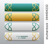 Set Of 3d Green And Golden...