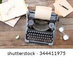 vintage black typewriter with... | Shutterstock . vector #344411975