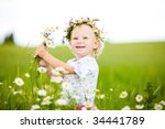 happy small girl with field... | Shutterstock . vector #34441789