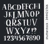 vector alphabet and numbers set.... | Shutterstock .eps vector #344421566