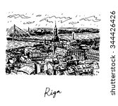 the panorama view of riga ...   Shutterstock .eps vector #344426426