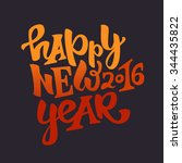 happy new 2016 year hand drawn... | Shutterstock .eps vector #344435822
