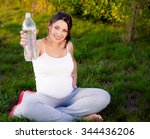 beautiful pregnant woman... | Shutterstock . vector #344436206