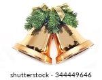 christmas golden bells isolated ... | Shutterstock . vector #344449646