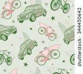 vector green pink surfboards... | Shutterstock .eps vector #344450642