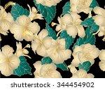 hibiscus seamless vector...   Shutterstock .eps vector #344454902
