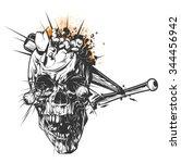 smashed skull | Shutterstock .eps vector #344456942