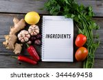 ingredients  conceptual image. | Shutterstock . vector #344469458