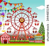 ferris wheel at the amusement... | Shutterstock .eps vector #344485196