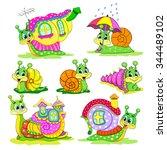 set of cartoon funny snails...   Shutterstock .eps vector #344489102